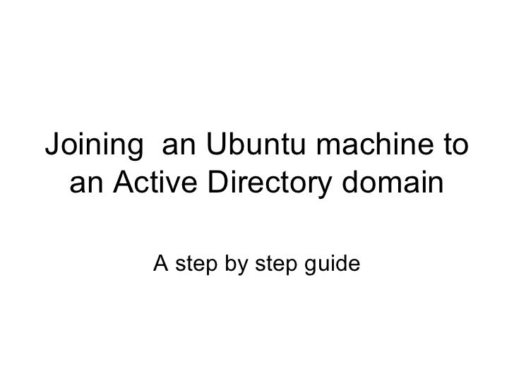 Joining  an ubuntu machine to an active directory