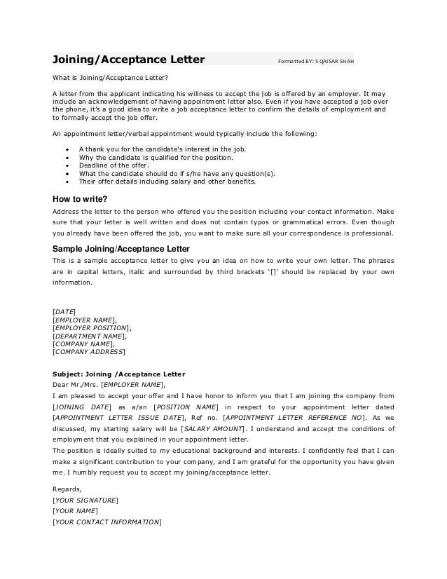 Joining/Acceptance Letter                                              Formatted BY: S QAISAR SHAHWhat is Joining/Acceptan...