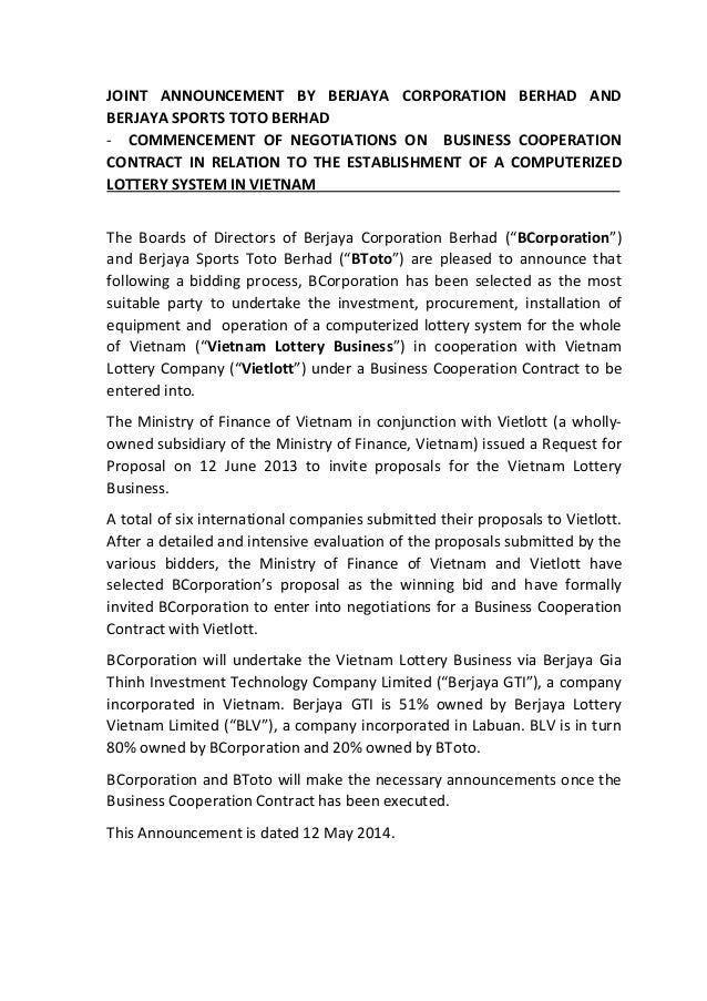 JOINT ANNOUNCEMENT BY BERJAYA CORPORATION BERHAD AND BERJAYA SPORTS TOTO BERHAD - COMMENCEMENT OF NEGOTIATIONS ON BUSINESS...