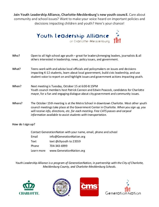 JoinYouthLeadershipAlliance,Charlotte‐Mecklenburg'snewyouthcouncil.Careabout communityandschoolissues?Wantt...