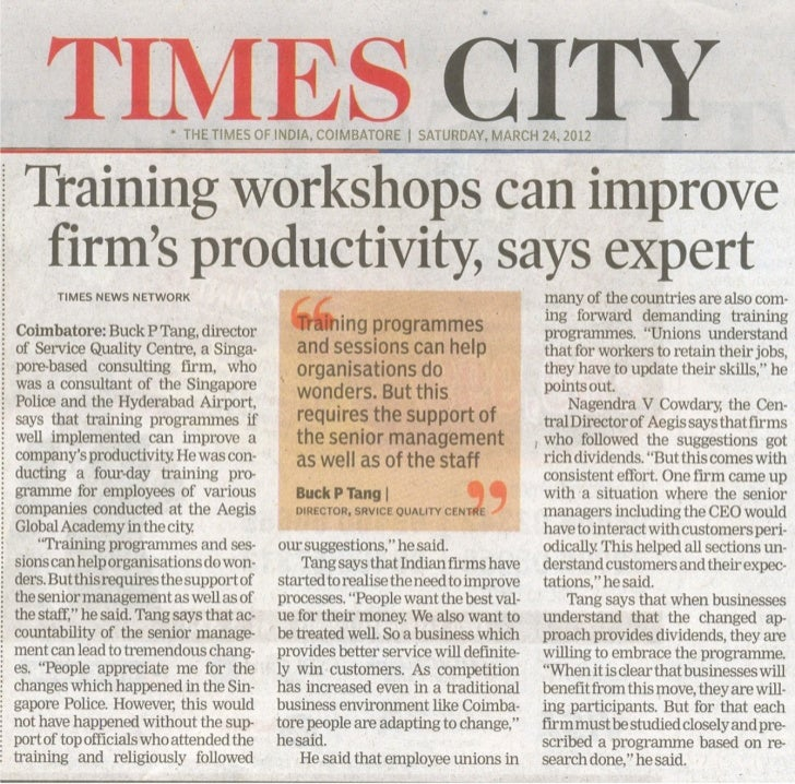 Joint Interview With Dr Buck Tang, Principal Consultant, Sqc, Singapore, Times Of India, 24 03 2012