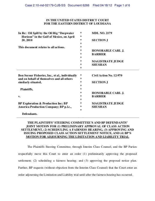 Joint motionforpreliminaryapprovalofbp settlementwithdeclofazariex1_4_18_2012