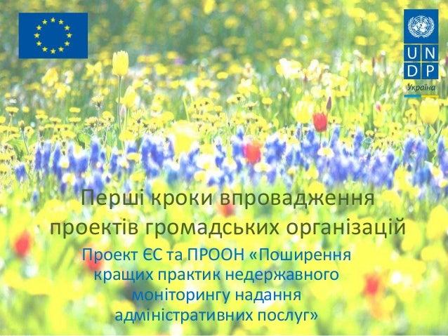 Перші кроки впровадження проектів громадських організацій Проект ЄС та ПРООН «Поширення кращих практик недержавного моніто...