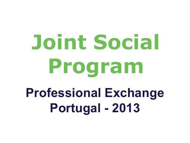 Joint Social Program Professional Exchange Portugal - 2013