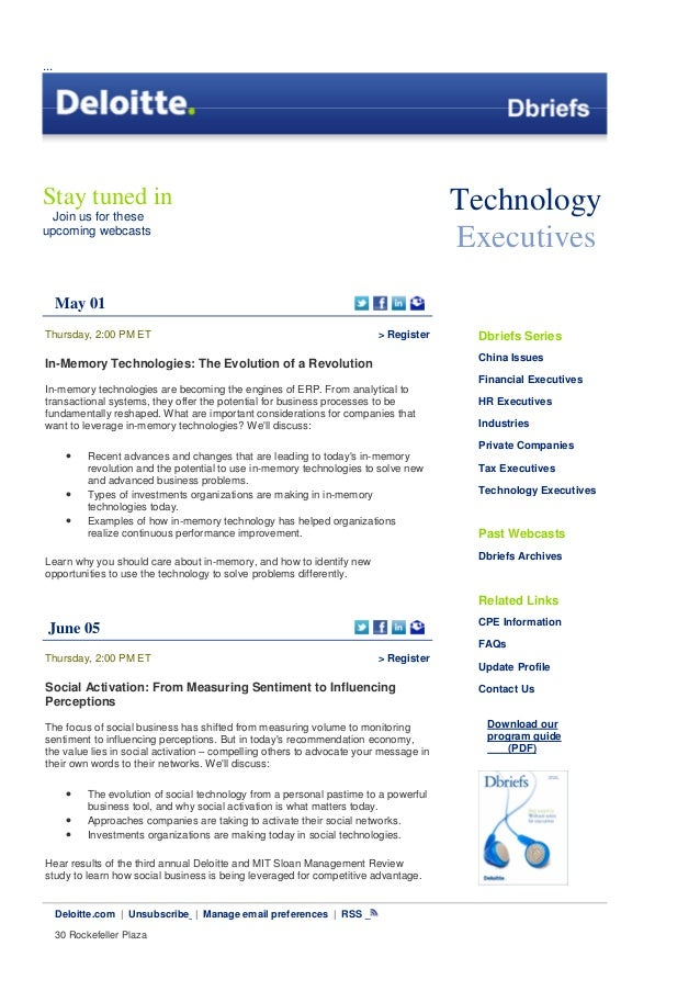 From Deloitte Dbriefs   Technologies Executive  -Uploaded by Franco Ferrario Techmogies Executive