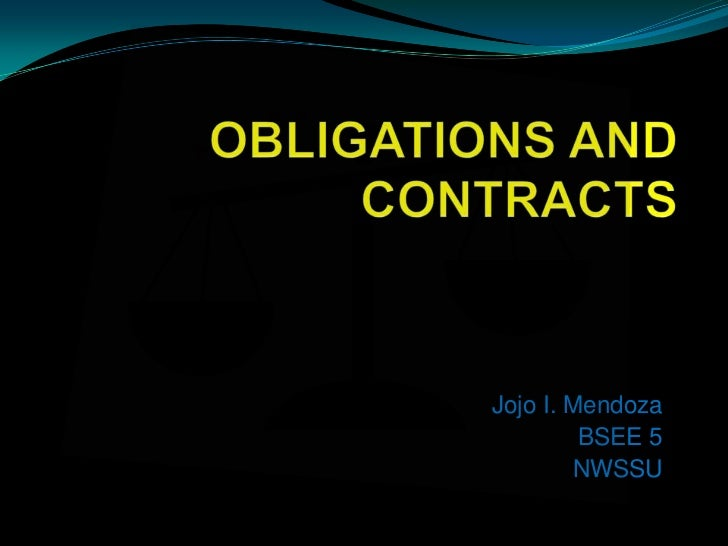 Jojo obligation and contracts ppt.