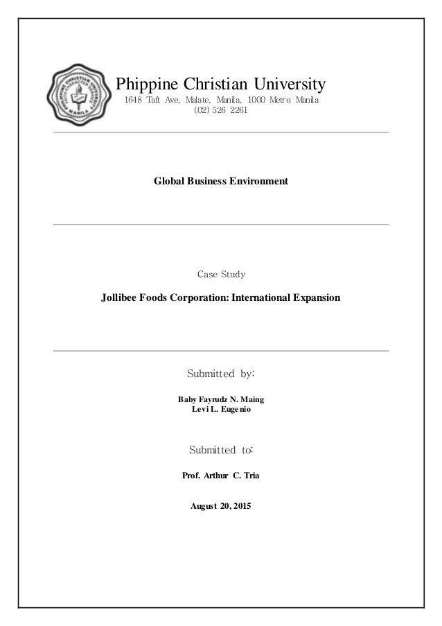 case study on jolibee Jollibee foods corporation harvard case study solution and analysis of harvard business case studies solutions – assignment helpin most courses studied at harvard business schools, students are provided with a case study.