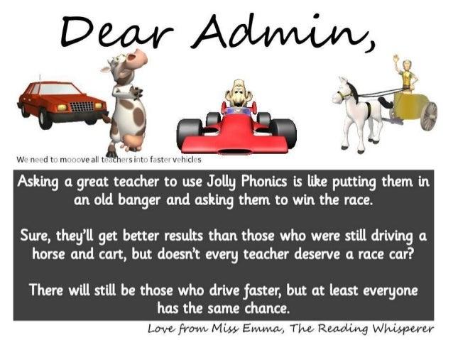 Jolly Phonics and the Race Car. Dear Admin..