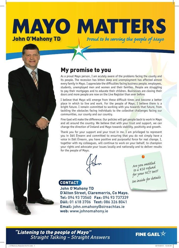 J O'Mahony Newsletter Oct 2010