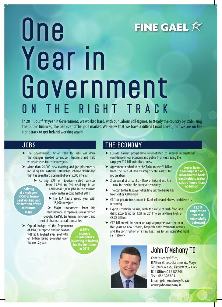 John O'Mahony one year in govenment