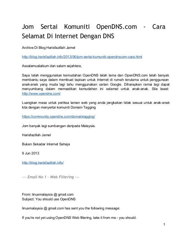 Jom Sertai Komuniti OpenDNS.com - Cara Selamat Di Internet Dengan DNS