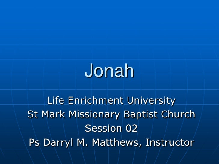 Jonah   Session 02   Chapter 1
