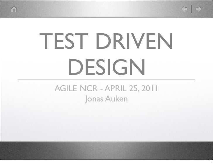 Test Driven Design by Jonas Auken