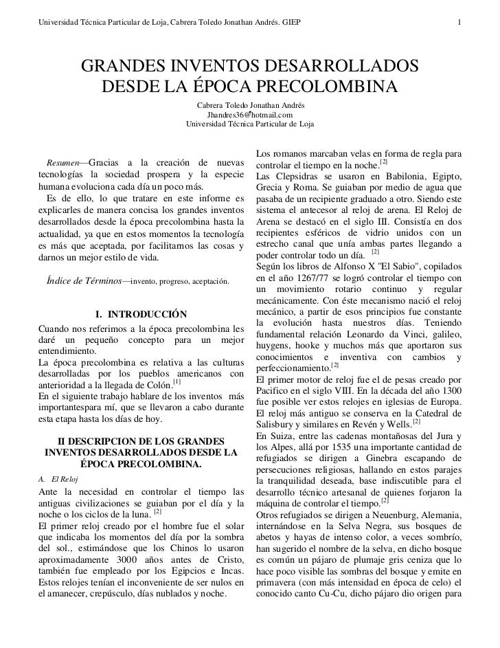 GRANDES INVENTOS DESARROLLADOS DESDE LA ÉPOCA PRECOLOMBINA
