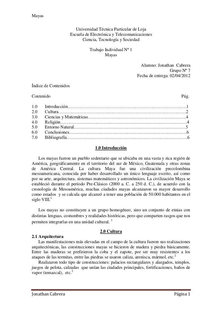 Mayas                          Universidad Técnica Particular de Loja                       Escuela de Electrónica y Telec...