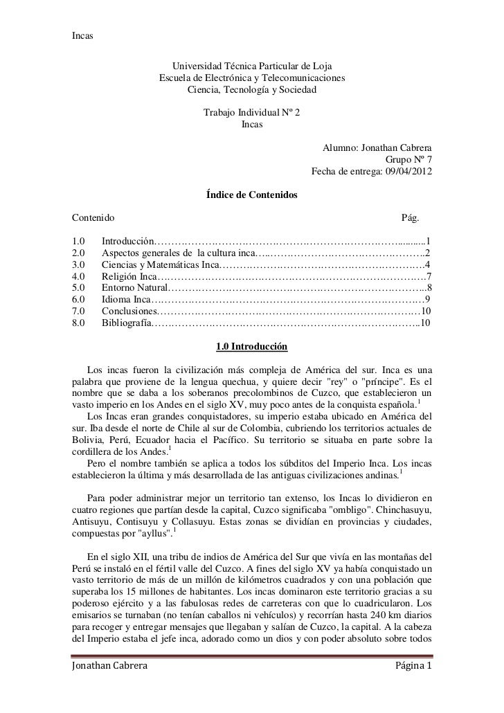 Incas                        Universidad Técnica Particular de Loja                     Escuela de Electrónica y Telecomun...