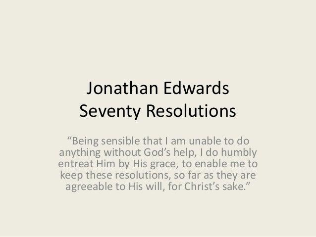 Jonathan Edwards Seventy Resolutions