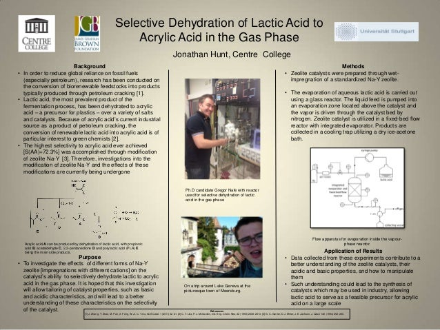 Selective Dehydration of Lactic Acid to Acrylic Acid in the Gas Phase Jonathan Hunt, Centre College Methods • Zeolite cata...