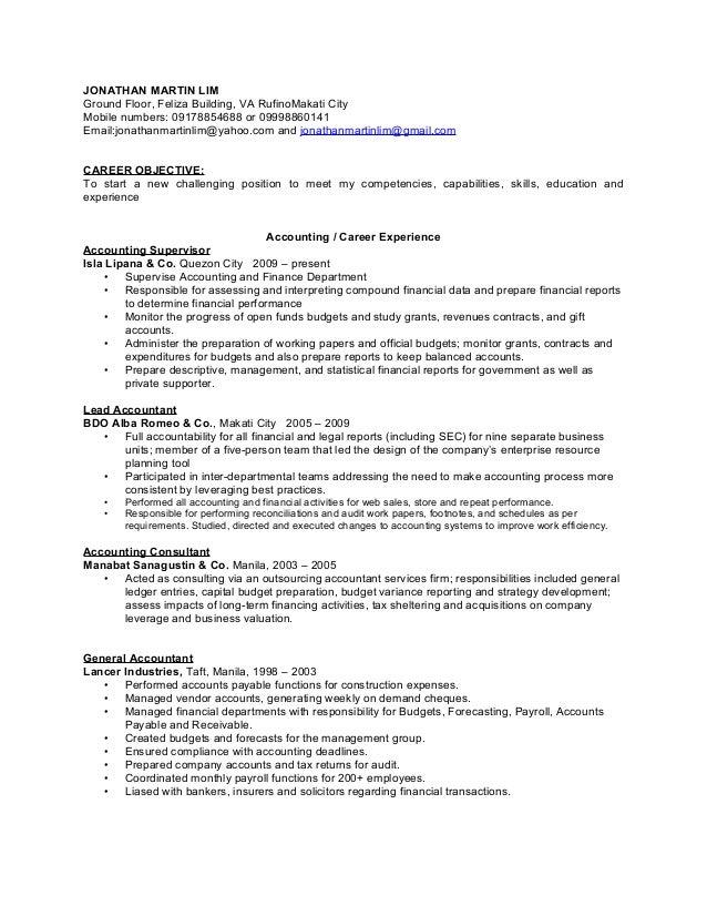 Finance accounting resume