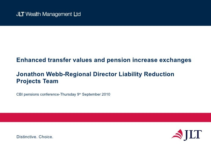 Enhanced transfer values and pension increase exchanges Jonathon Webb-Regional Director Liability Reduction Projects Team ...