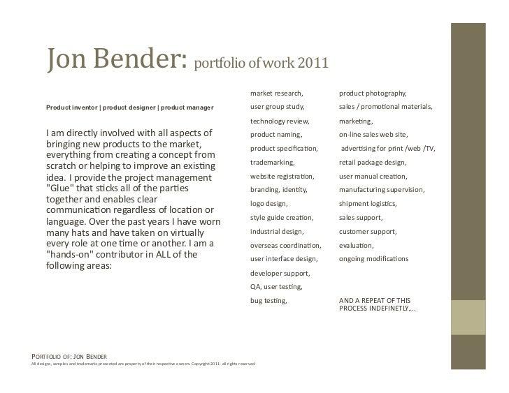 Jon Bender Portfolio 2011