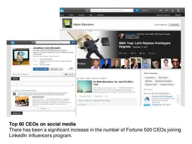 Top 60 CEOs on social media There has been a significant increase in the number of Fortune 500 CEOs joining LinkedIn Influ...