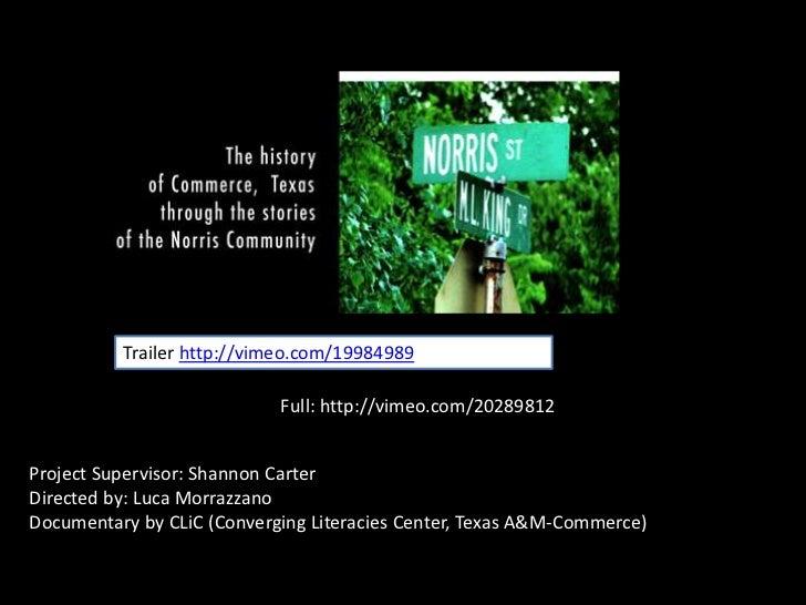 Trailer http://vimeo.com/19984989<br />Full: http://vimeo.com/20289812<br />Project Supervisor: Shannon Carter<br />Direct...