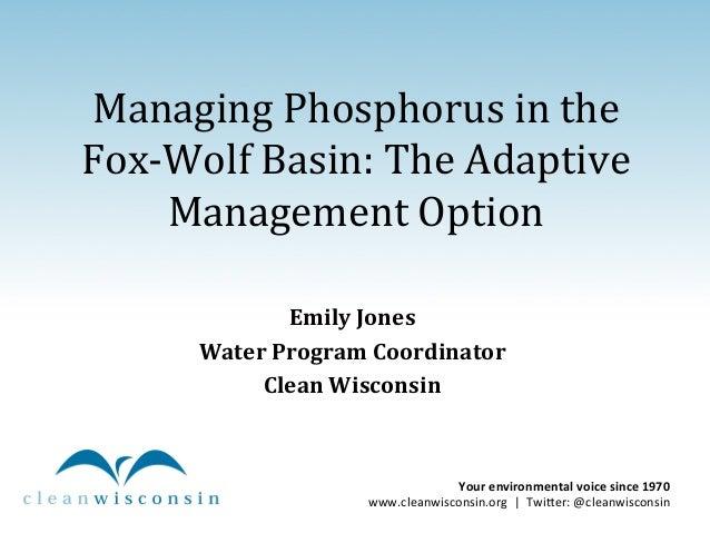 Phosphorus Management in the Fox-Wolf Basin