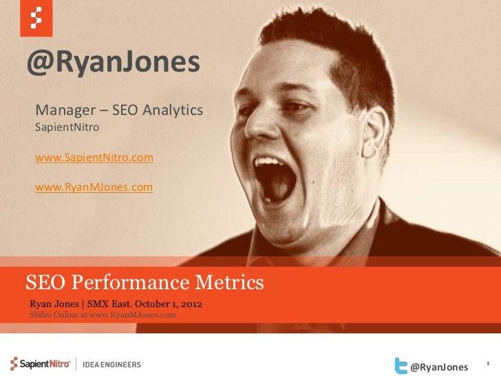 @RyanJones Manager – SEO Analytics SapientNitro www.SapientNitro.com www.RyanMJones.comSEO Performance MetricsRyan Jones |...