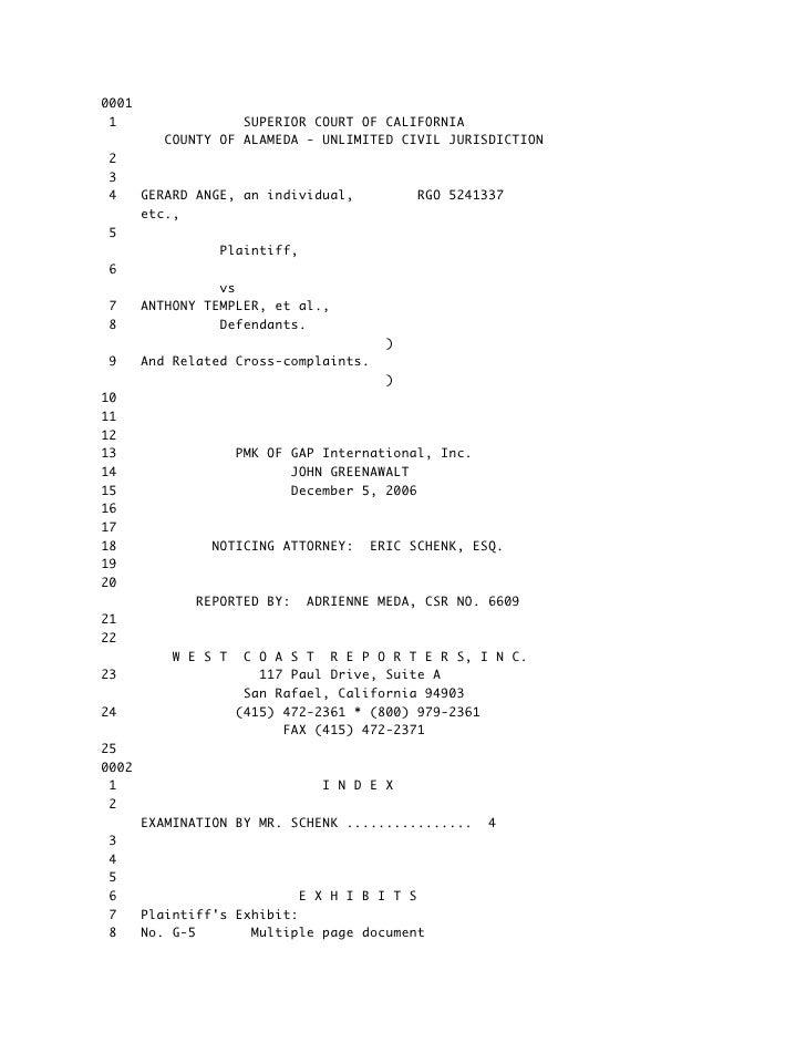 DEPOSITION OF DEFENDANT /  JON GREENAWALT DIRECTOR OF WEB DEVELOPMENT GAP INTERNATIONAL  PA