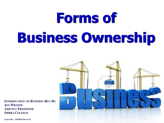 Business plan forms of ownership