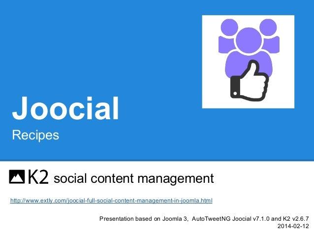 Joocial Recipes - K2 social content management