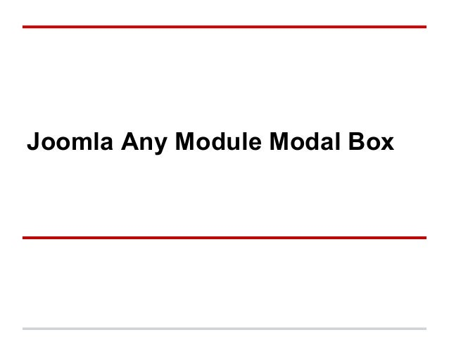 Joomla Any Module Modal Box