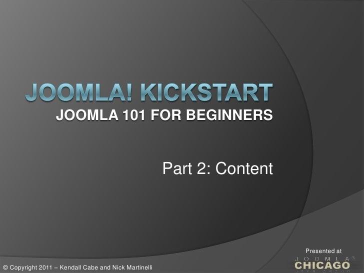 Joomla Chicago Kickstart Part 2