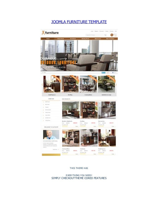 JOOMLA FURNITURE TEMPLATE THIS THEME HAS EVERYTHING YOU NEED! SIMPLY CHECKOUTTHEME CORED FEATURES