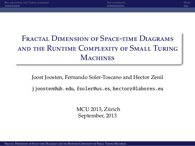 Box dimension and Turing machines The experiment Demo Fractal Dimension of Space-time Diagrams and the Runtime Complexity ...