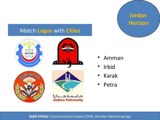 Match Logos with Cities • Amman • Irbid • Karak • Petra Jordan Horizon Sajid Imtiaz: Communications Expert CDKN, Member Ad...