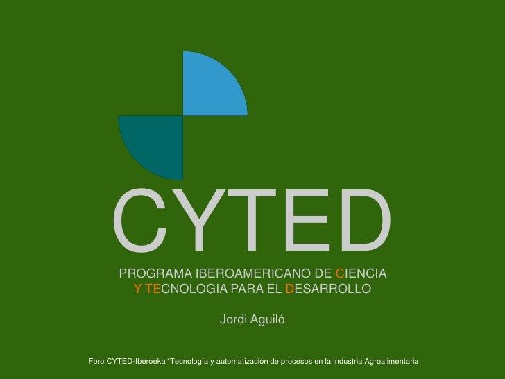 Portada       CYTED          PROGRAMA IBEROAMERICANO DE CIENCIA            Y TECNOLOGIA PARA EL DESARROLLO                ...