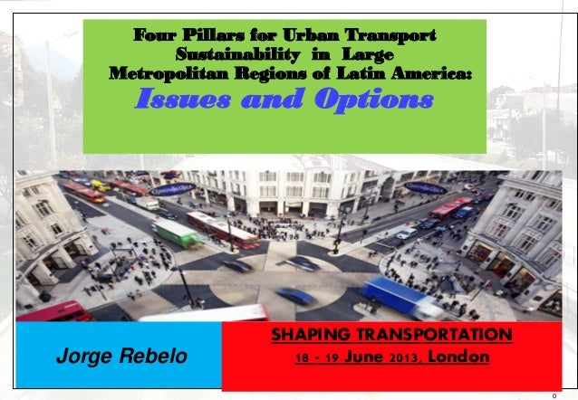 0Jorge RebeloFour Pillars for Urban TransportSustainability in LargeMetropolitan Regions of Latin America:Issues and Optio...