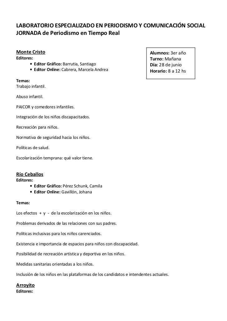 LABORATORIO ESPECIALIZADO EN PERIODISMO Y COMUNICACIÓN SOCIALJORNADA de Periodismo en Tiempo RealMonte Cristo             ...