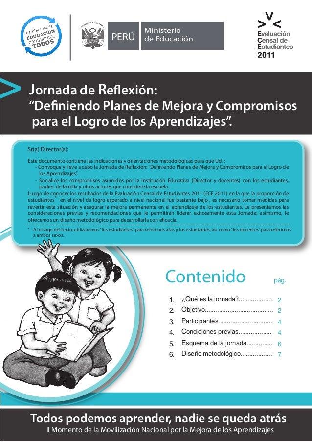 """PERÚ  Ministerio de Educación  Jornada de Reflexión:  """"Definiendo Planes de Mejora y Compromisos para el Logro de los Apre..."""