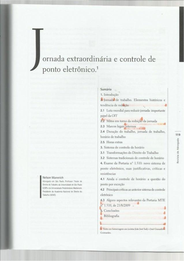 Jornada extraordinária de trabalho e controle de ponto eletrônico (Nelson Manrich).