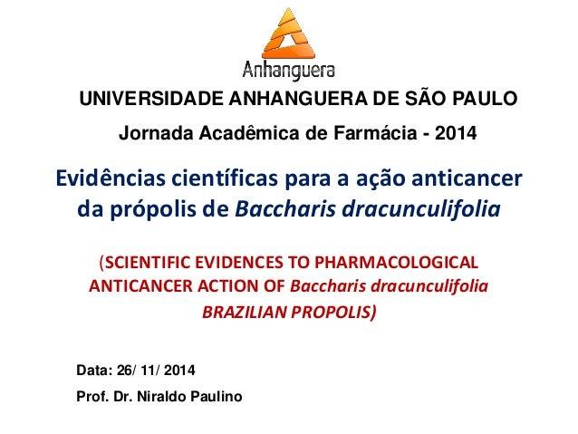 UNIVERSIDADE ANHANGUERA DE SÃO PAULO  Jornada Acadêmica de Farmácia - 2014  Data: 26/ 11/ 2014  Prof. Dr. Niraldo Paulino ...