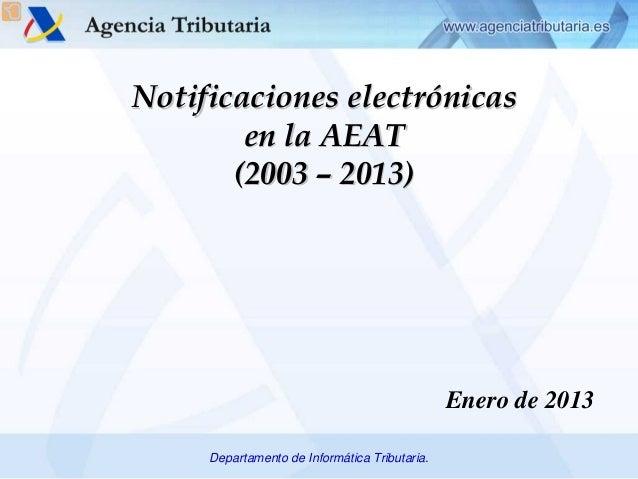 Notificaciones electrónicas        en la AEAT       (2003 – 2013)                                               Enero de 2...