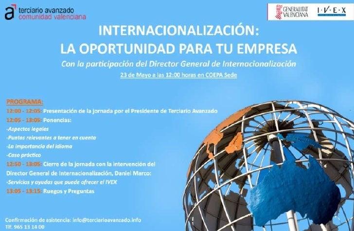 Jornada internacionalización la oportunidad para tu empresa