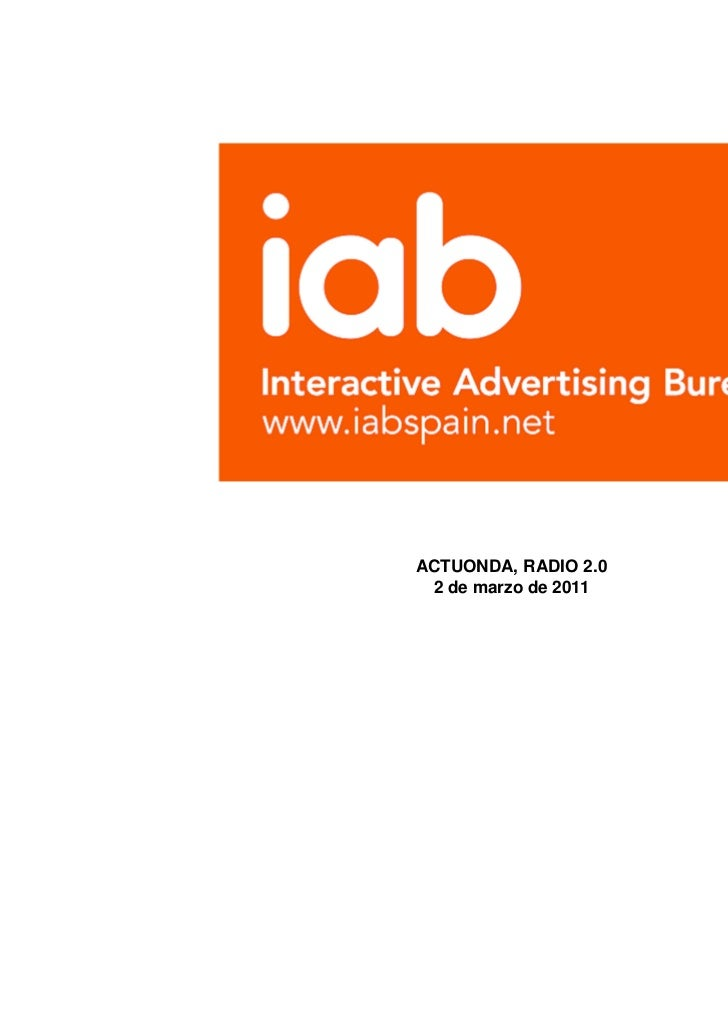 Panorama Publicidad Digital Metricas Online Antonio Traugott IAB @ Jornada Radio 2.0 BCN organized by Actuonda