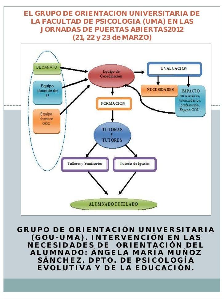 EL GRUPO DE ORIENTACION UNIVERSITARIA DE  LA FACULTAD DE PSICOLOGIA (UMA) EN LAS     JORNADAS DE PUERTAS ABIERTAS2012     ...