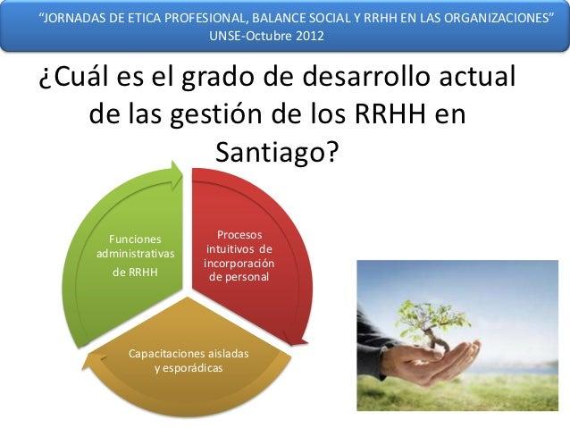 """""""JORNADAS DE ETICA PROFESIONAL, BALANCE SOCIAL Y RRHH EN LAS ORGANIZACIONES""""                         UNSE-Octubre 2012¿Cuá..."""