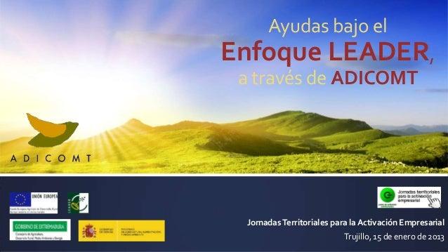Ayudas bajo elEnfoque LEADER, a través de ADICOMT Jornadas Territoriales para la Activación Empresarial                   ...