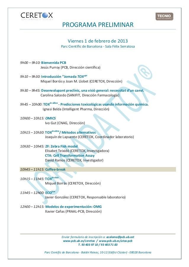 PROGRAMA PRELIMINAR                                  Viernes 1 de febrero de 2013                            Parc Científi...